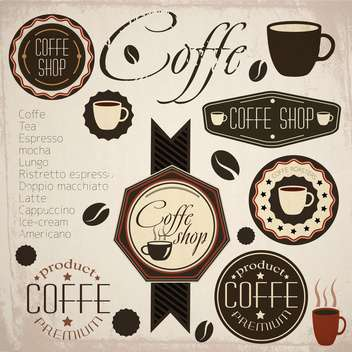 retro coffee stamp labels - vector #133300 gratis