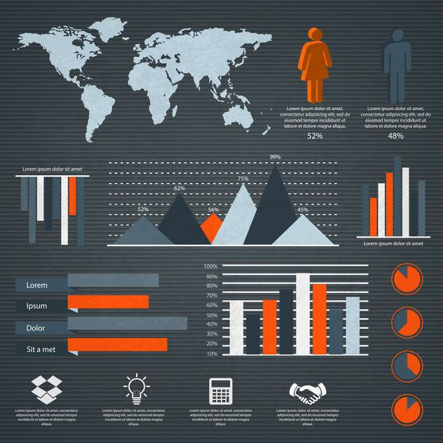 business retro infographics set - Free vector #133350