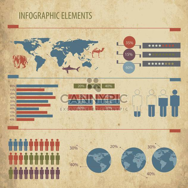 business infographics set with world map - Free vector #133430