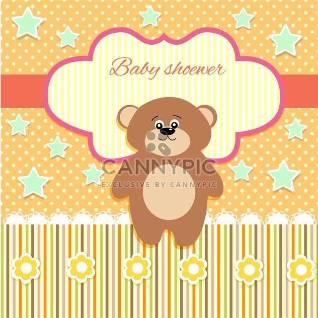 cute vector background with teddy bear - vector gratuit #133450