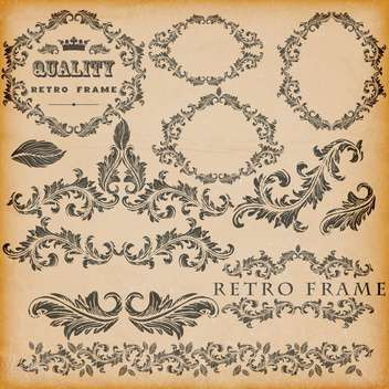 vector set of vintage frames background - Free vector #133470