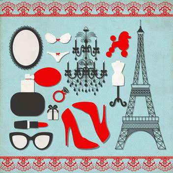 vector set of various france icons - vector #133550 gratis