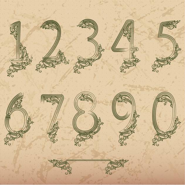 floral font vector numbers set - бесплатный vector #133570