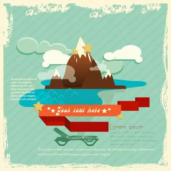 vector retro background with mountain - vector gratuit #133670