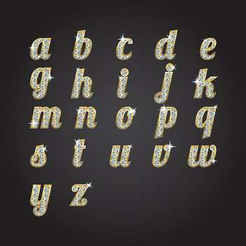 vector golden alphabet with diamonds - vector #133700 gratis