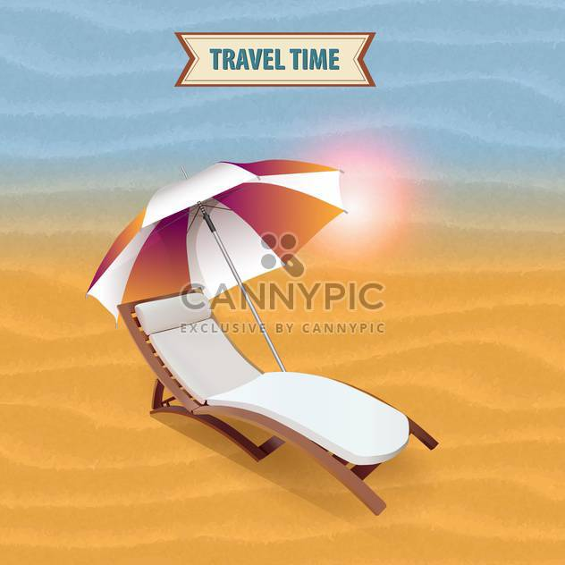 beach lounger on travel time background - Free vector #133790