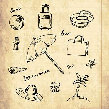 summer vacation holiday icons - vector gratuit #133950