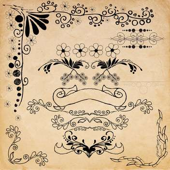 vintage design elements set - vector gratuit #134220