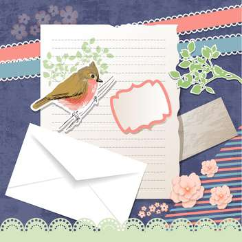 vector greeting card with bird - vector gratuit #134290