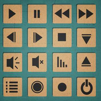 media player icons set - vector gratuit #134310