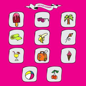 summer vacation holidays icons set - vector gratuit #134340