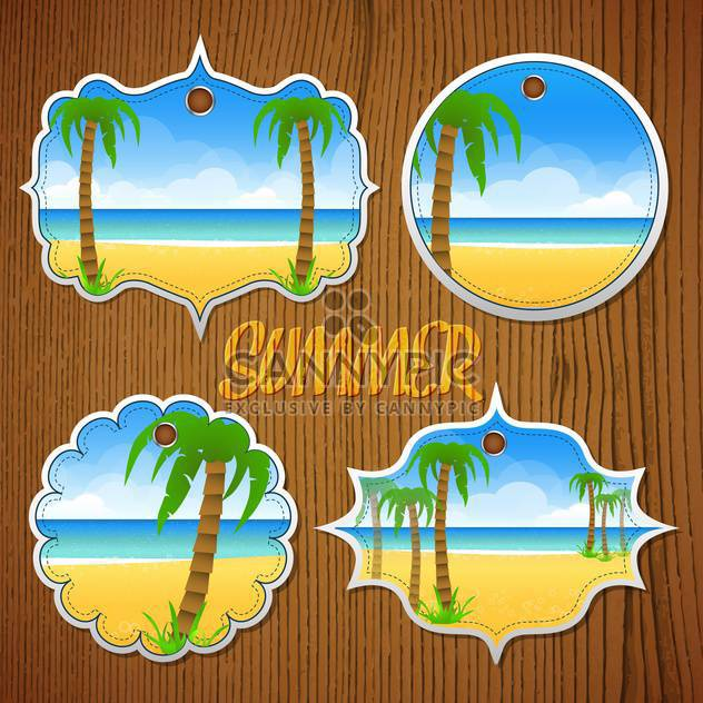 summer labels with palm trees - Free vector #134350