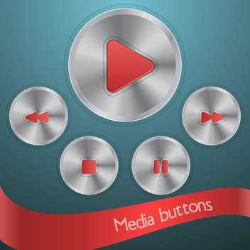 media or audio buttons set - vector gratuit #134450