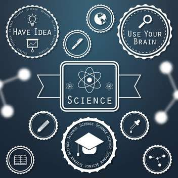 science vintage labels set background - vector #134470 gratis