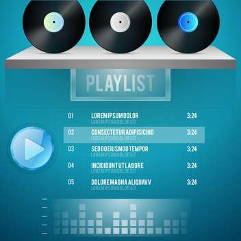 vector template for music playlist - vector gratuit #134570