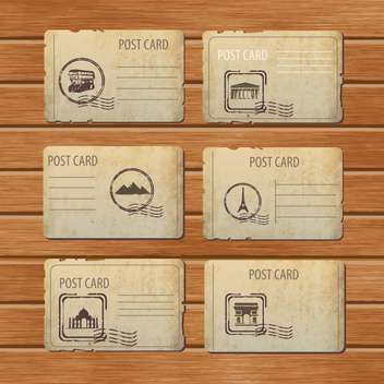 set of travel vintage postcard design - vector #134620 gratis