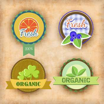 vector set of labels for healthy food - vector gratuit #134730