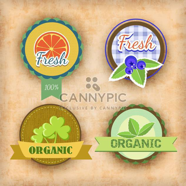 vector set of labels for healthy food - Free vector #134730