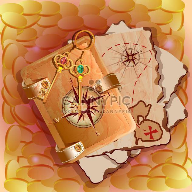 treasure map with keys illustration - Free vector #134980