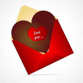 open valentine's day envelope with heart - vector gratuit #134990