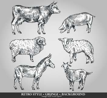 domestic animals sketch set in retro style - бесплатный vector #135100