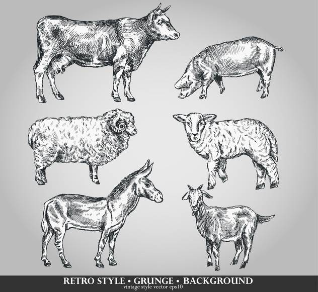 domestic animals sketch set in retro style - Free vector #135100
