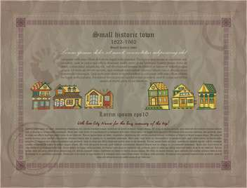 retro document of small historic town - Kostenloses vector #135130