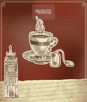 vintage style label for tea with Big Ben tower - vector gratuit #135170