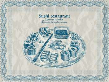 vintage sushi restaurant banner vector illustration - vector gratuit #135200