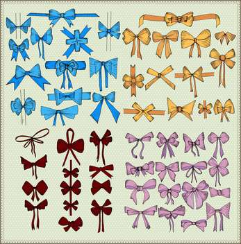 set of festive vector bows decoration - vector gratuit #135250