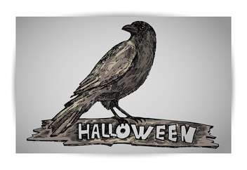 halloween holiday crow on grey background - Free vector #135260
