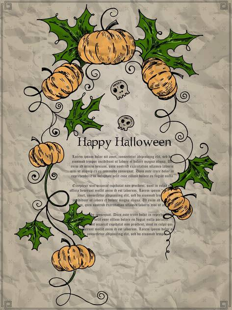 Halloween holiday card with pumpkins and skulls - бесплатный vector #135280