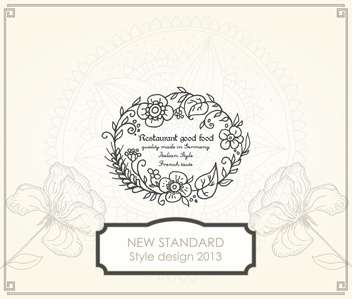 Retro style menu banner with floral frame - vector gratuit #135310